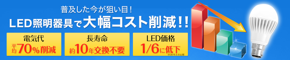 LED照明器具で大幅コスト削減!!